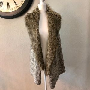 Bevello RD Style Faux Fur Collared Vest